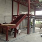 Structural steel staircase to mezzanine floor