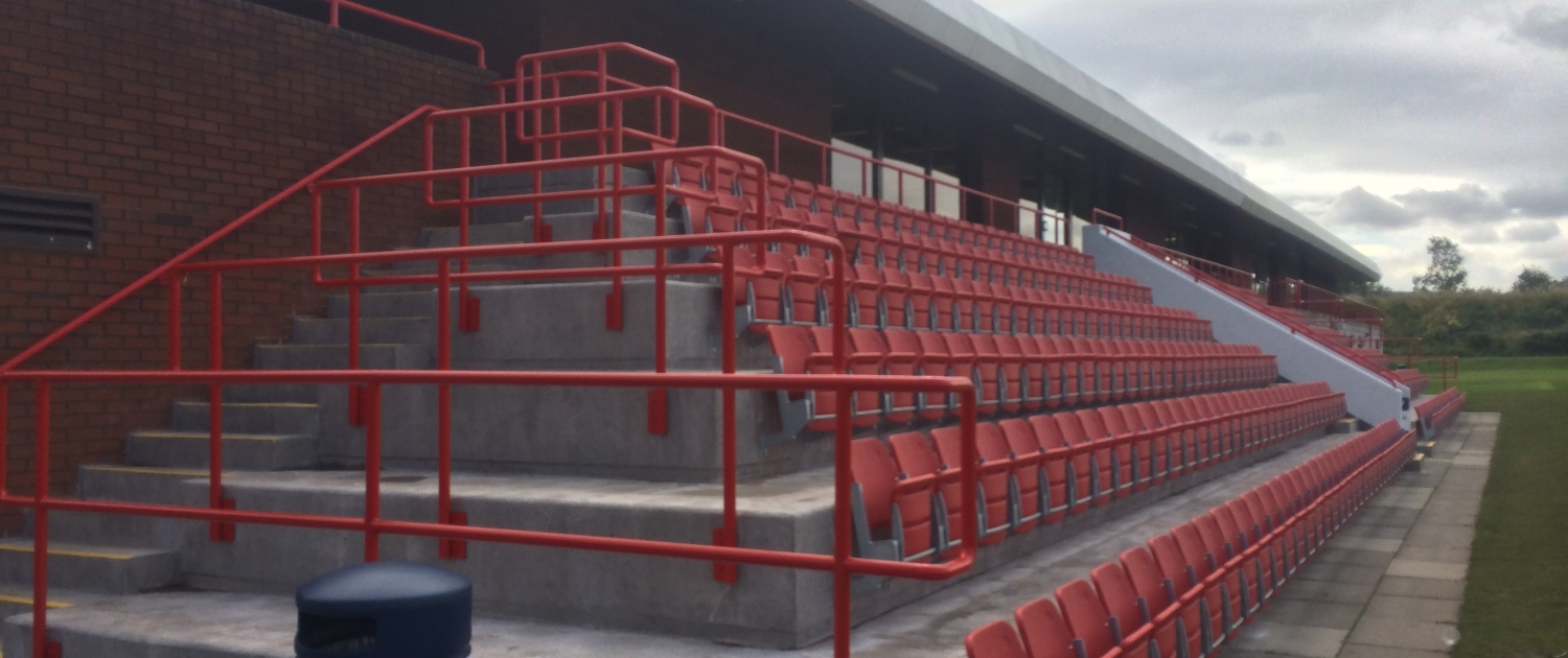 Steel terracing at a sports ground